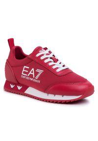 Czerwone półbuty EA7 Emporio Armani casualowe, na co dzień, z cholewką