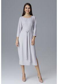 e-margeritka - Klasyczna sukienka midi wiązana w talii szara - s. Okazja: do pracy, na spotkanie biznesowe. Kolor: szary. Materiał: materiał, poliester. Typ sukienki: proste. Styl: klasyczny. Długość: midi