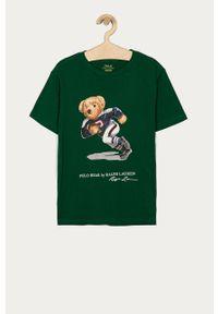 Zielony t-shirt Polo Ralph Lauren na co dzień, polo, casualowy, z nadrukiem