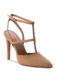 Brązowe sandały Kazar z paskami, w paski
