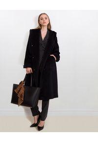 CATERINA - Czarny płaszcz z alpaką i wełną. Kolor: czarny. Materiał: wełna