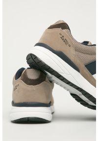 Beżowe sneakersy U.S. Polo Assn z okrągłym noskiem, z cholewką