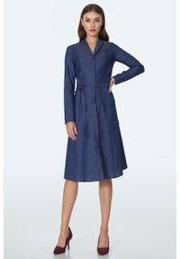 e-margeritka - Sukienka żakietowa jeansowa rozkloszowana - 38. Materiał: jeans. Sezon: lato. Typ sukienki: rozkloszowane. Styl: elegancki