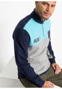 Bluza z zamkiem bonprix jasnoszary melanż - morski - ciemnoniebieski. Typ kołnierza: kołnierzyk stójkowy. Kolor: szary. Wzór: melanż #5