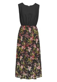 Sukienka z krepy bonprix czarny w kwiaty. Kolor: czarny. Wzór: kwiaty. Długość: maxi