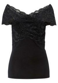 Shirt z koronką bonprix Shirt z koronką czarny. Kolor: czarny. Materiał: koronka. Wzór: koronka