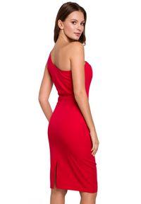 Makover - Elegancka sukienka na jedno ramię z ołówkowym dołem. Okazja: na randkę, do pracy, na imprezę. Typ sukienki: ołówkowe. Styl: elegancki. Długość: midi #3