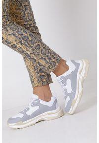 Casu - szare buty sportowe sneakersy sznurowane casu ds8141-5. Kolor: biały, wielokolorowy, szary. Materiał: skóra ekologiczna, materiał. Szerokość cholewki: normalna. Sezon: lato, wiosna