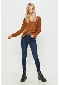 Brązowy sweter Jacqueline de Yong długi, casualowy, na co dzień #5