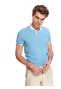 Niebieski t-shirt TOP SECRET w paski, do pracy, z krótkim rękawem