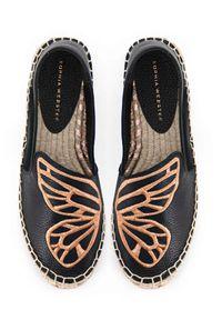 SOPHIA WEBSTER - Czarne espadryle ze skóry. Nosek buta: okrągły. Kolor: czarny. Materiał: skóra. Wzór: aplikacja. Sezon: lato