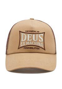 Deus Ex Machina - Czapka z daszkiem DEUS EX MACHINA - Twinbox Trucker DMP207835 Tobacco. Kolor: beżowy. Materiał: bawełna, poliester, materiał