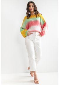 e-margeritka - Sweter oversize kolorowy z szerokimi rękawami - s/m. Materiał: wełna, akryl, poliester, poliamid, materiał. Długość: krótkie. Wzór: kolorowy. Sezon: wiosna