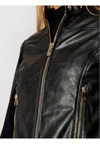 Trussardi Jeans - Trussardi Kurtka skórzana 56S00638 Czarny Regular Fit. Kolor: czarny. Materiał: skóra