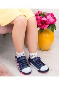 UNDERLINE - Trampki dziecięce Underline 10C1827 Granatowe. Zapięcie: rzepy. Kolor: niebieski. Materiał: tkanina, skóra, guma