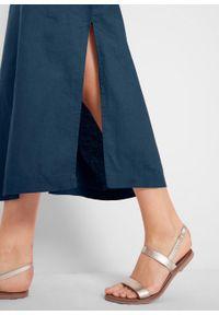 Sukienka lniana w ażurowy wzór, bez rękawów bonprix ciemnoniebieski. Kolor: niebieski. Materiał: len. Długość rękawa: bez rękawów. Wzór: ażurowy