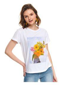 Biały t-shirt TOP SECRET krótki, z nadrukiem