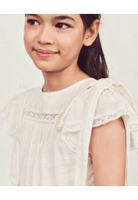 LOVE SHACK FANCY KIDS - Sukienka Callie. Kolor: biały. Materiał: materiał, koronka. Wzór: haft, aplikacja