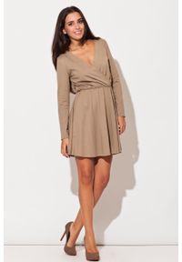 Katrus - Beżowa Sukienka z Długim Rękawem z Szerokim Dołem. Kolor: beżowy. Materiał: bawełna, poliester. Długość rękawa: długi rękaw
