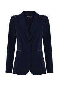 CATERINA - Granatowa marynarka z haftem. Kolor: niebieski. Materiał: wiskoza, materiał. Wzór: haft. Styl: klasyczny