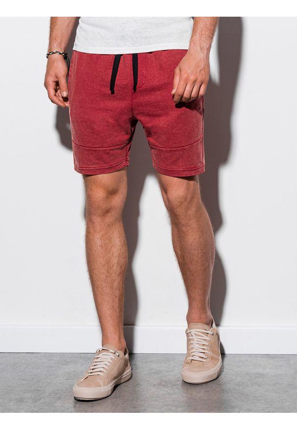 Czerwone szorty Ombre Clothing klasyczne, krótkie, z aplikacjami
