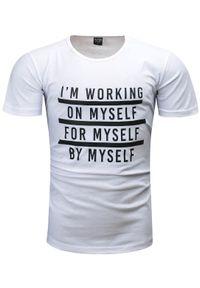 Biały t-shirt z nadrukiem Recea casualowy, na co dzień