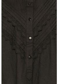 Jacqueline de Yong - Sukienka. Kolor: czarny. Materiał: bawełna, tkanina. Wzór: gładki. Typ sukienki: rozkloszowane