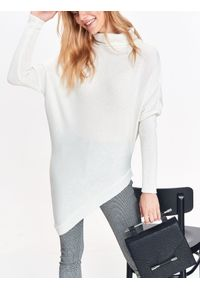 Biały sweter TOP SECRET z krótkim rękawem, na co dzień, na jesień