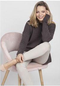 MKM - Oversizowy Sweter z Szerokim Dekoltem - Grafitowy. Kolor: szary. Materiał: akryl, wiskoza