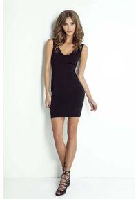 Czarna sukienka IVON ołówkowa, z kokardą, mini