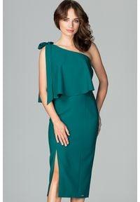 Lenitif - Koktajlowa ołówkowa sukienka na jedno ramię z falbaną zielona. Okazja: na ślub cywilny, na randkę, na wesele. Kolor: zielony. Materiał: tkanina. Typ sukienki: ołówkowe. Styl: wizytowy