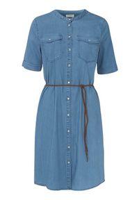 Freequent Dżinsowa sukienka Fia denim blue female niebieski L (42). Kolor: niebieski. Materiał: denim. Długość rękawa: krótki rękaw. Styl: klasyczny, elegancki