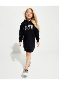 DSQUARED2 KIDS - Sukienka dresowa z logo 4-14 lat. Typ kołnierza: kaptur. Kolor: czarny. Materiał: dresówka. Długość rękawa: długi rękaw. Sezon: lato