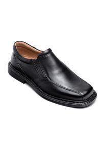 ESCOTT - Mokasyny męskie Escott 875 Czarne. Zapięcie: bez zapięcia. Kolor: czarny. Materiał: tworzywo sztuczne, skóra. Obcas: na obcasie. Styl: elegancki. Wysokość obcasa: średni #5
