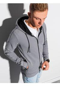 Ombre Clothing - Bluza męska rozpinana z kapturem B1157 - szara - XXL. Typ kołnierza: kaptur. Kolor: szary. Materiał: bawełna, poliester