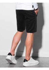 Ombre Clothing - Krótkie spodenki męskie dresowe W291 - czarne - XXL. Kolor: czarny. Materiał: dresówka. Długość: krótkie. Styl: klasyczny