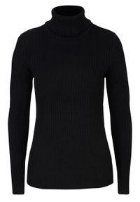 Sweter z golfem, w prążek bonprix czarny. Typ kołnierza: golf. Kolor: czarny. Wzór: prążki