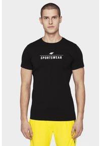 4f - T-shirt męski. Kolor: czarny. Materiał: bawełna