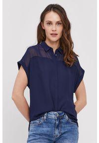 Niebieska koszula Pepe Jeans gładkie, casualowa, z krótkim rękawem, krótka