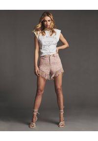 RETROFETE - Różowe szorty Lucia. Kolor: różowy, wielokolorowy, fioletowy. Materiał: jeans, wiskoza, materiał. Styl: wakacyjny, klasyczny, elegancki