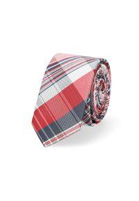 Lancerto - Krawat Czerwono-Biało-Granatowy w Kratę. Kolor: niebieski, biały, wielokolorowy, czerwony. Materiał: mikrofibra, materiał. Styl: elegancki