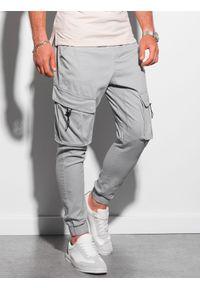 Ombre Clothing - Spodnie męskie joggery P1026 - szare - XXL. Kolor: szary. Materiał: elastan, bawełna