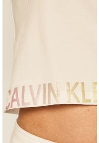 Biały top Calvin Klein Jeans z okrągłym kołnierzem, z nadrukiem, na co dzień, casualowy