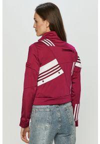 Fioletowa bluza rozpinana adidas Originals z aplikacjami, casualowa, na co dzień