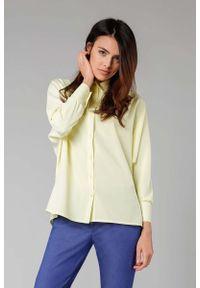 Nommo - Żółta Koszula z Długim Nietoperzowym Rękawem. Kolor: żółty. Materiał: wiskoza, poliester. Długość: długie