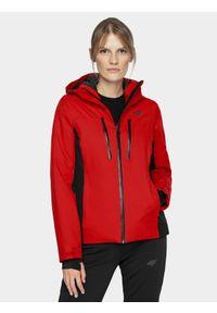 Czerwona kurtka narciarska 4f na zimę, z kapturem