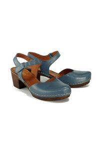 Niebieskie sandały Manitu na rzepy, na obcasie, na średnim obcasie