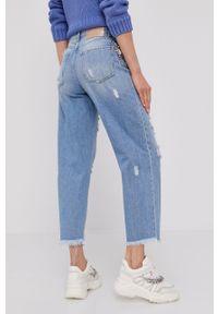 Niebieskie proste jeansy Pinko z podwyższonym stanem, klasyczne, z aplikacjami