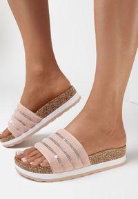 Born2be - Różowe Klapki Madore. Nosek buta: okrągły. Kolor: różowy. Materiał: zamsz. Styl: elegancki