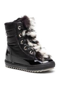 Czarne buty zimowe Bartek z cholewką, z aplikacjami